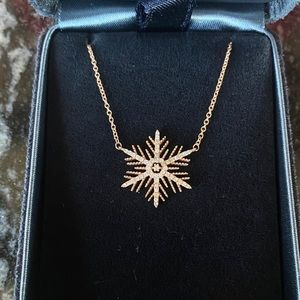Jewelry - Snowflake necklace 14k rose gold with real diamond